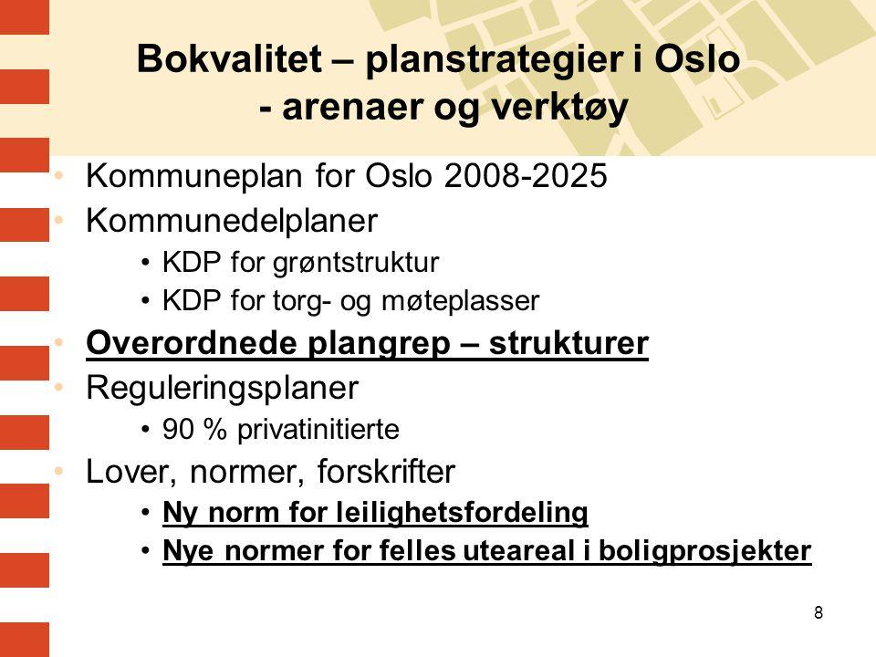 Bokvalitet – planstrategier i Oslo - arenaer og verktøy