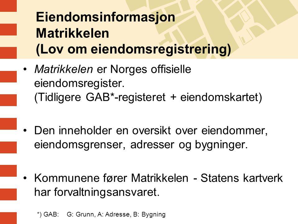 Eiendomsinformasjon Matrikkelen (Lov om eiendomsregistrering)