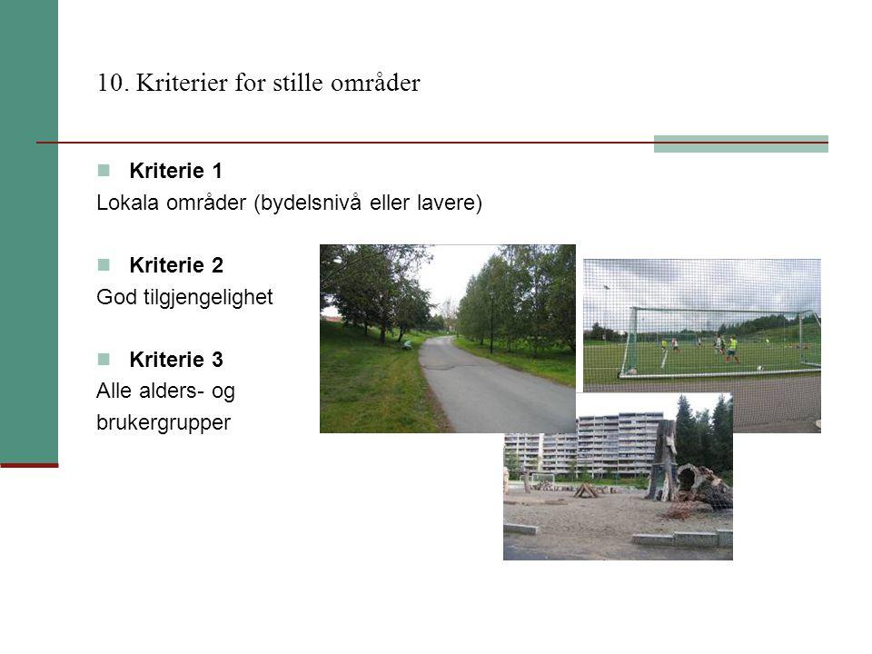 10. Kriterier for stille områder
