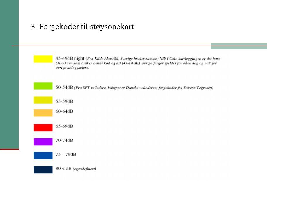 3. Fargekoder til støysonekart