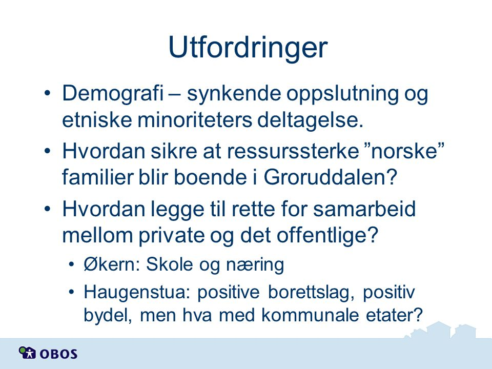 Utfordringer Demografi – synkende oppslutning og etniske minoriteters deltagelse.