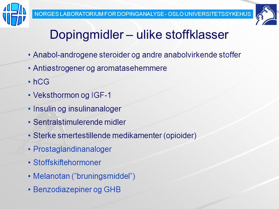 Dopingmidler – ulike stoffklasser