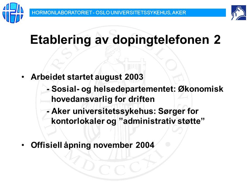 Etablering av dopingtelefonen 2