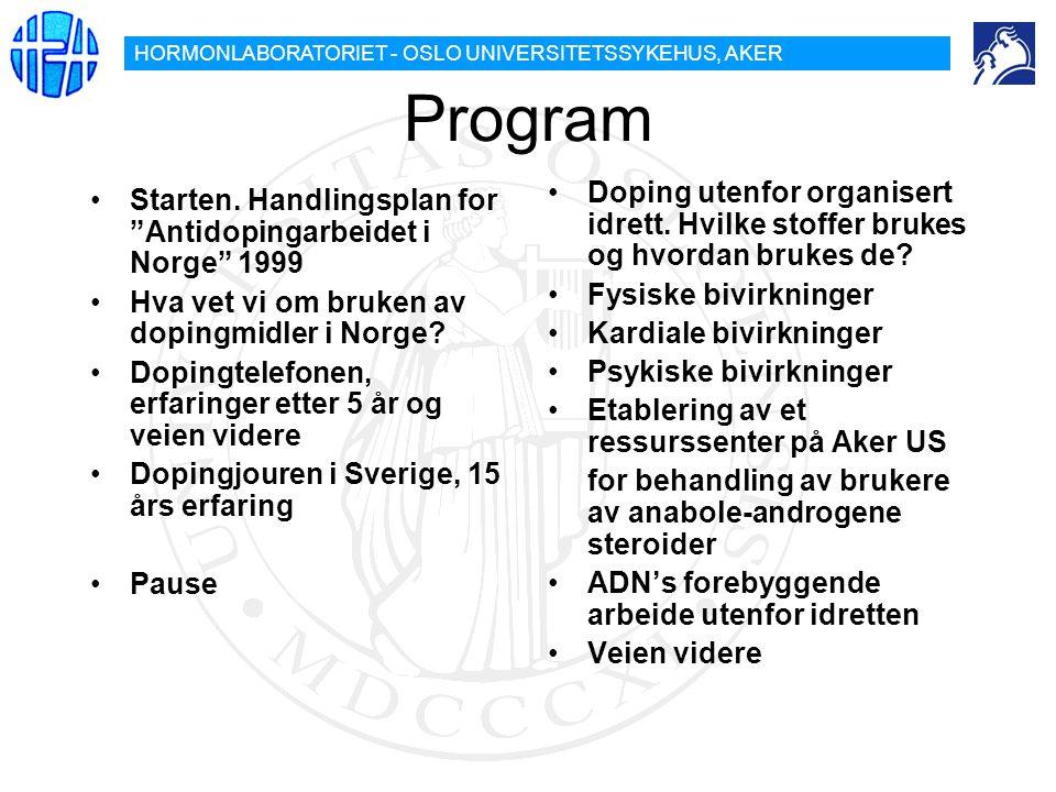 Program Doping utenfor organisert idrett. Hvilke stoffer brukes og hvordan brukes de Fysiske bivirkninger.