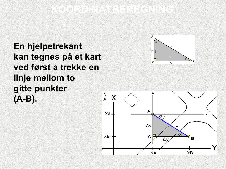 KOORDINATBEREGNING En hjelpetrekant kan tegnes på et kart ved først å trekke en linje mellom to gitte punkter (A-B).