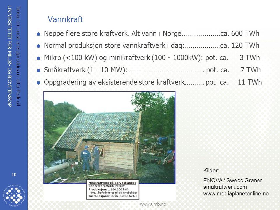 Vannkraft Neppe flere store kraftverk. Alt vann i Norge………………..ca. 600 TWh. Normal produksjon store vannkraftverk i dag:……...………ca. 120 TWh.