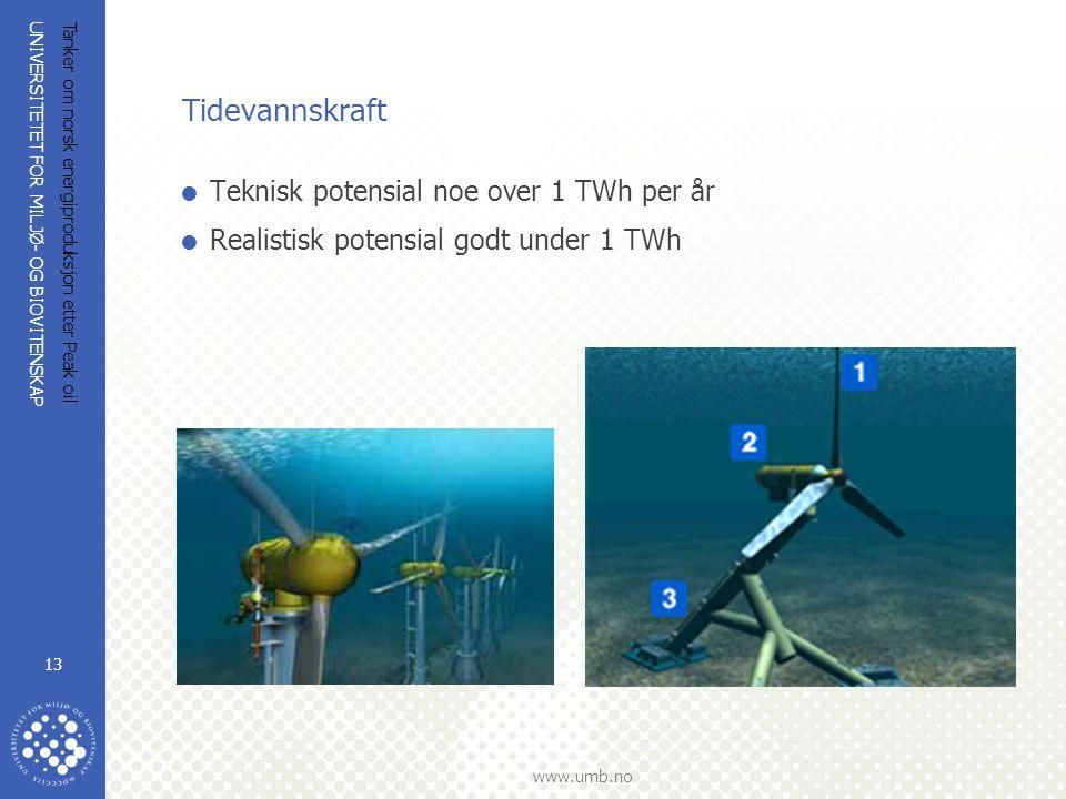 Tidevannskraft Teknisk potensial noe over 1 TWh per år