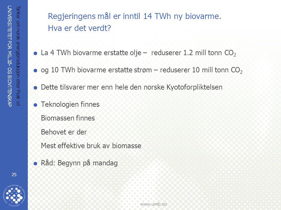 Regjeringens mål er inntil 14 TWh ny biovarme. Hva er det verdt