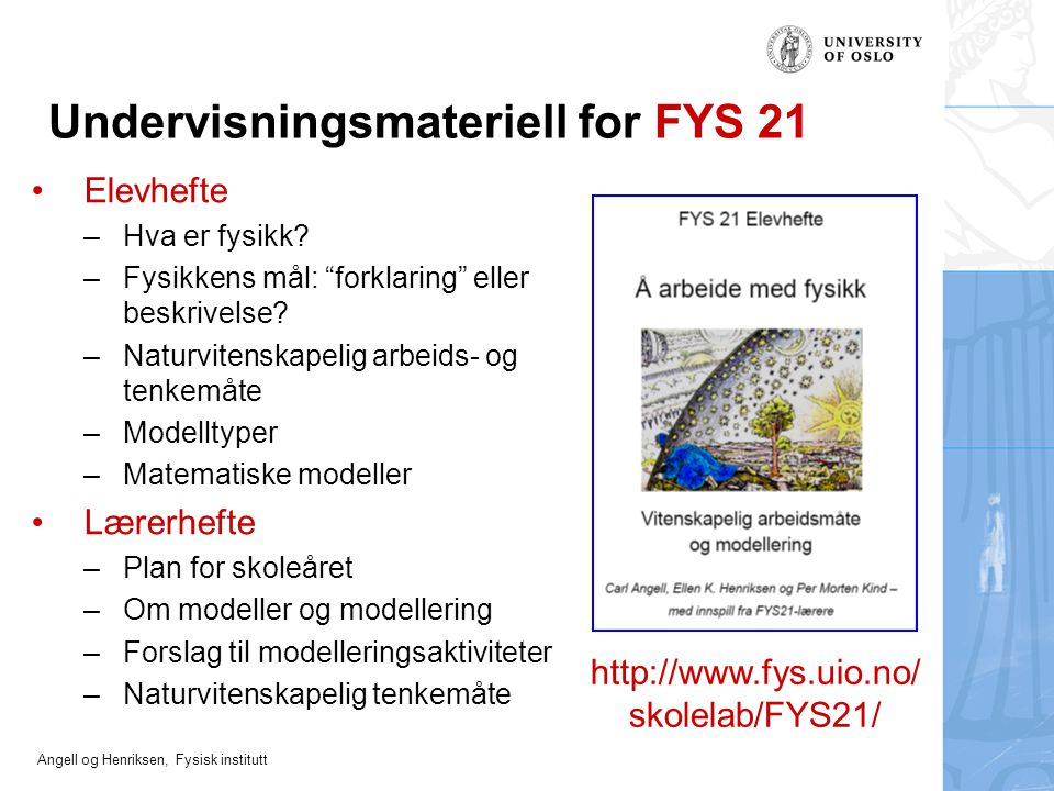 Undervisningsmateriell for FYS 21