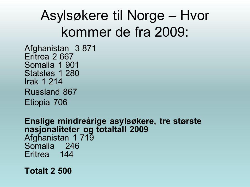Asylsøkere til Norge – Hvor kommer de fra 2009: