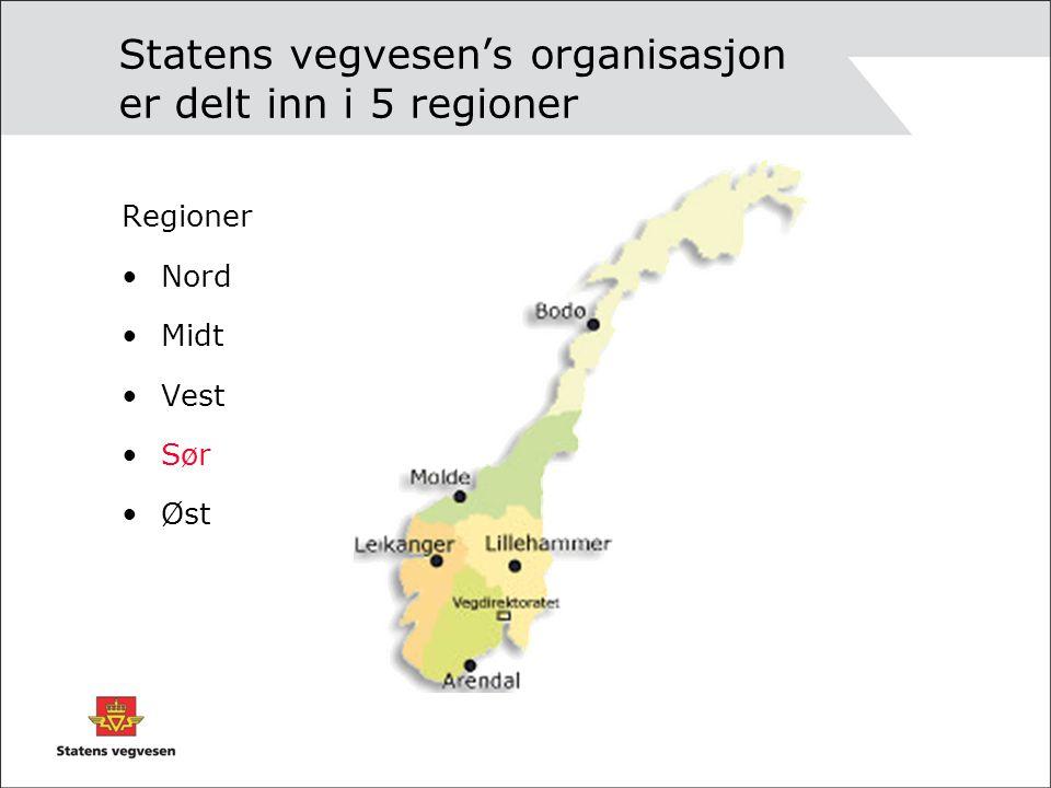 Statens vegvesen's organisasjon er delt inn i 5 regioner