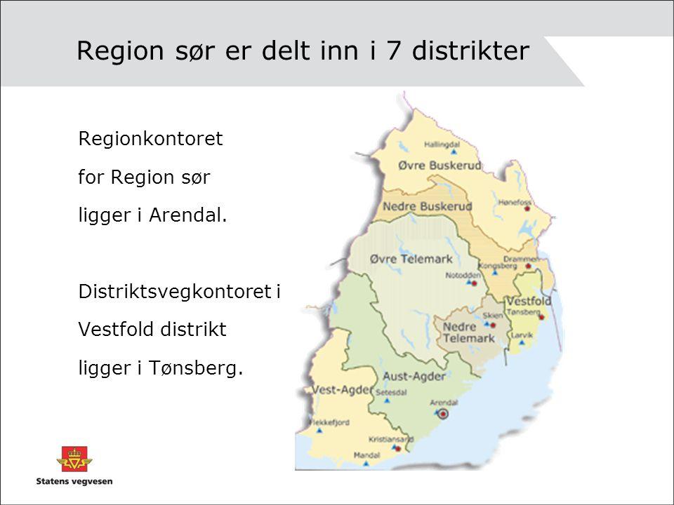 Region sør er delt inn i 7 distrikter