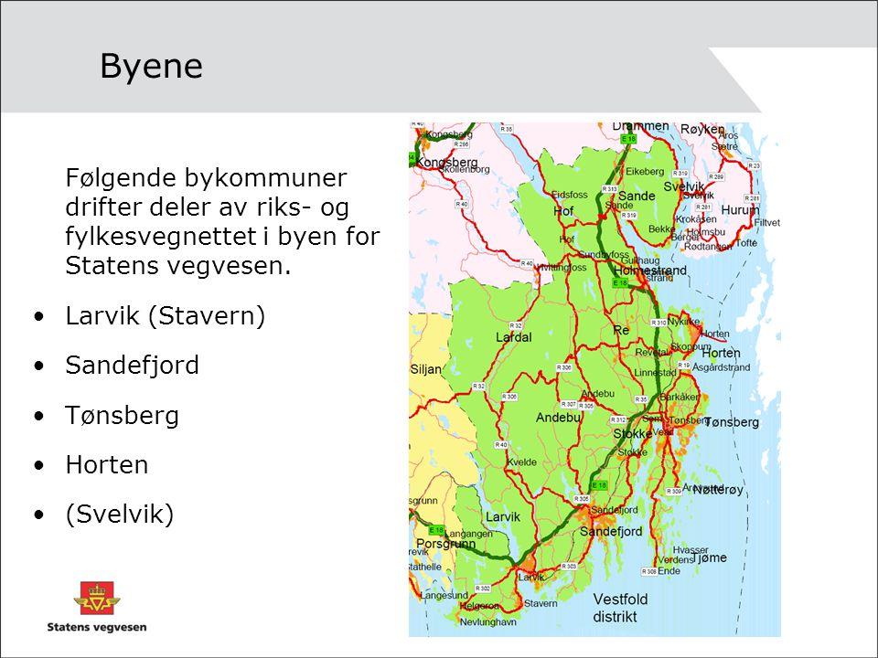 Byene Følgende bykommuner drifter deler av riks- og fylkesvegnettet i byen for Statens vegvesen. Larvik (Stavern)