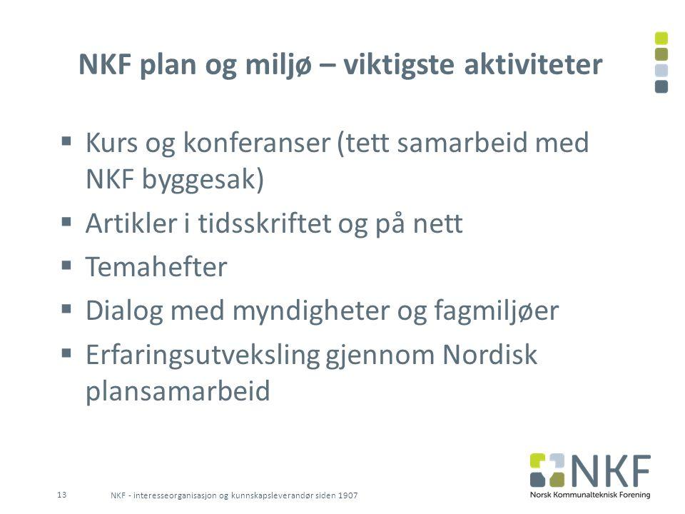 NKF plan og miljø – viktigste aktiviteter