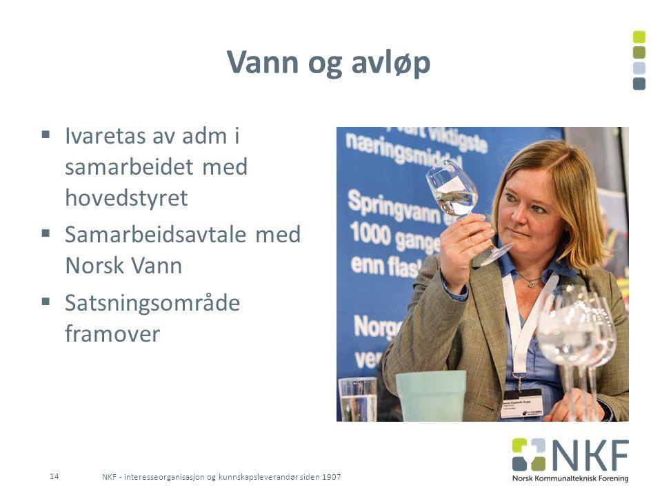 Vann og avløp Ivaretas av adm i samarbeidet med hovedstyret