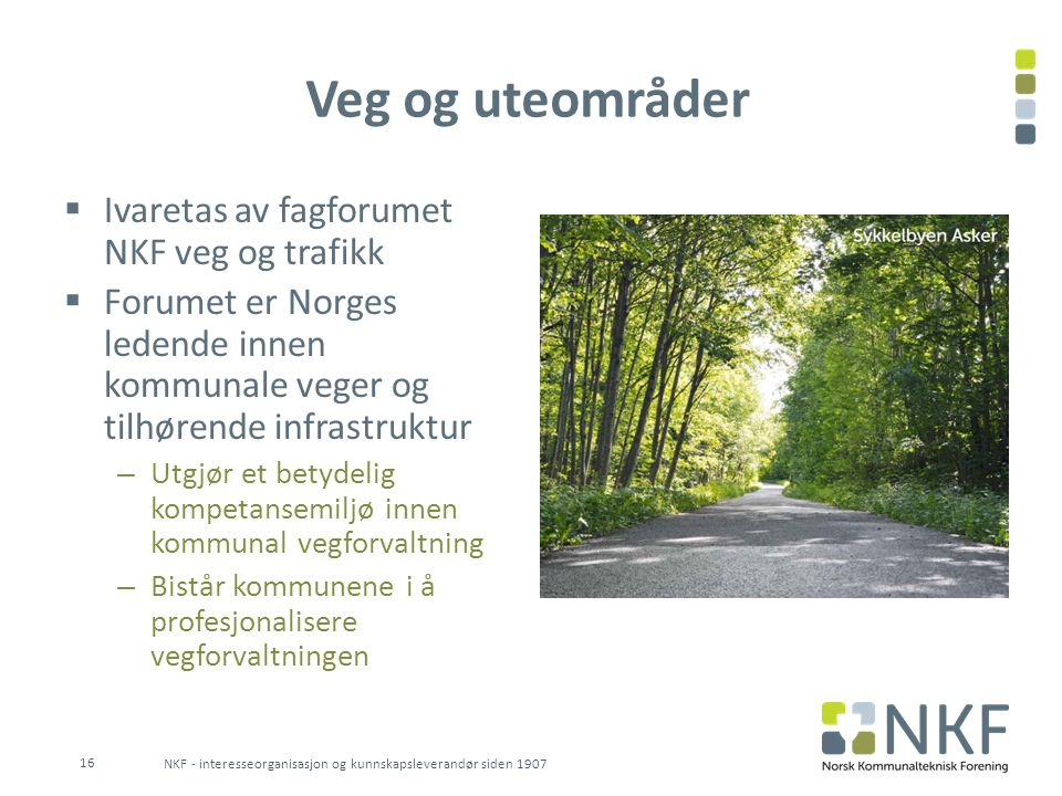 Veg og uteområder Ivaretas av fagforumet NKF veg og trafikk