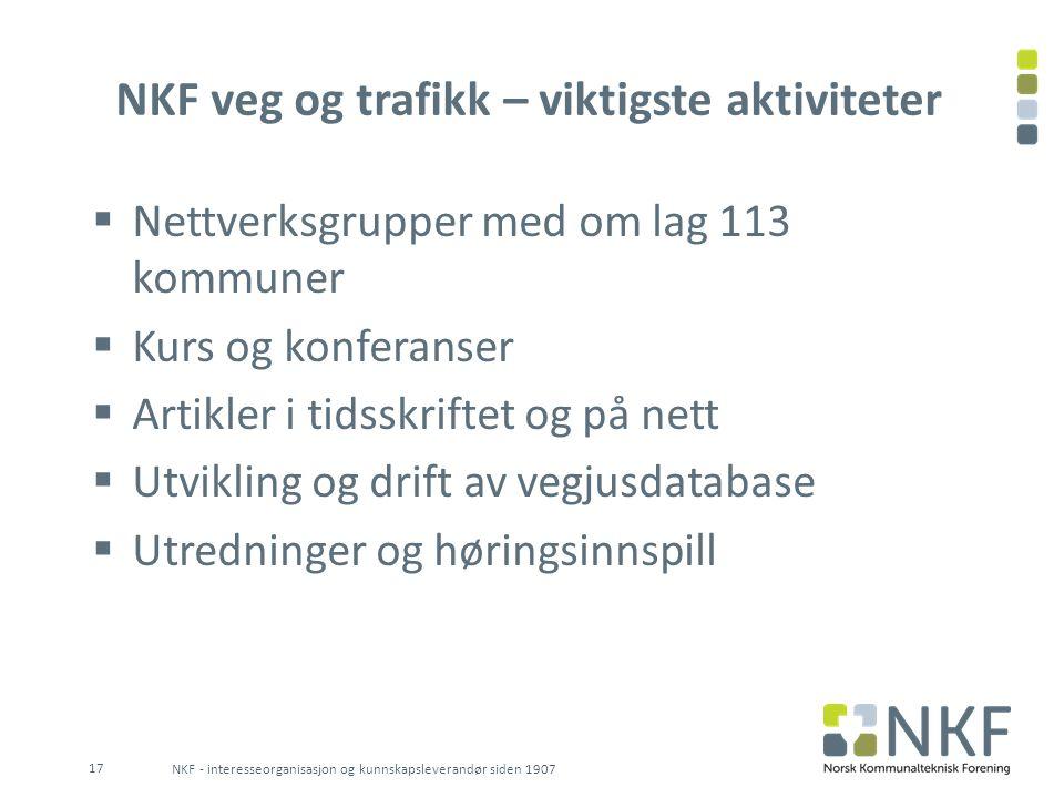 NKF veg og trafikk – viktigste aktiviteter