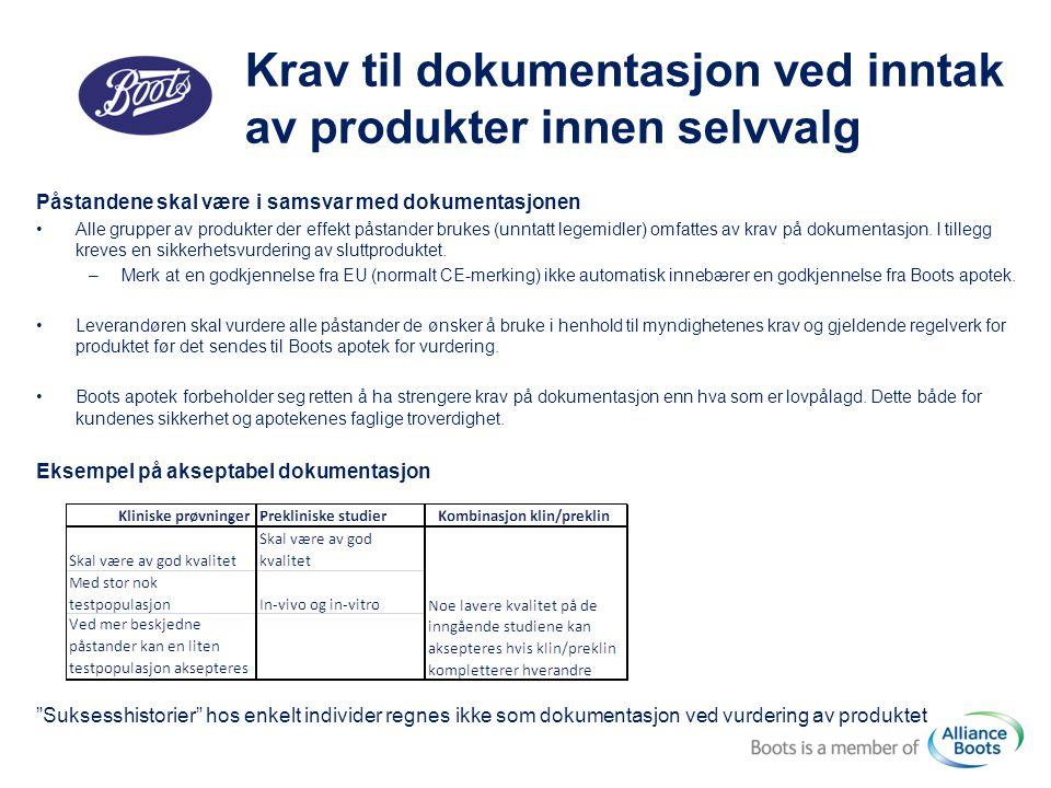 Krav til dokumentasjon ved inntak av produkter innen selvvalg