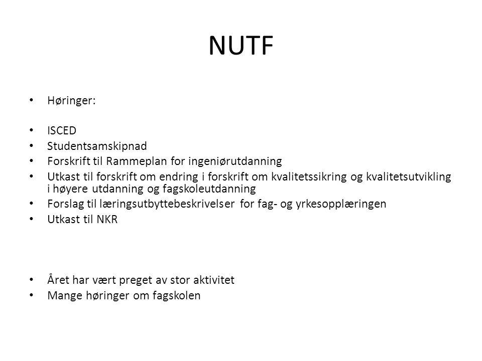 NUTF Høringer: ISCED Studentsamskipnad