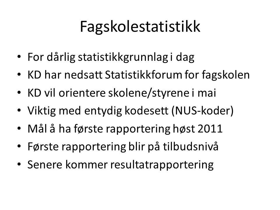 Fagskolestatistikk For dårlig statistikkgrunnlag i dag