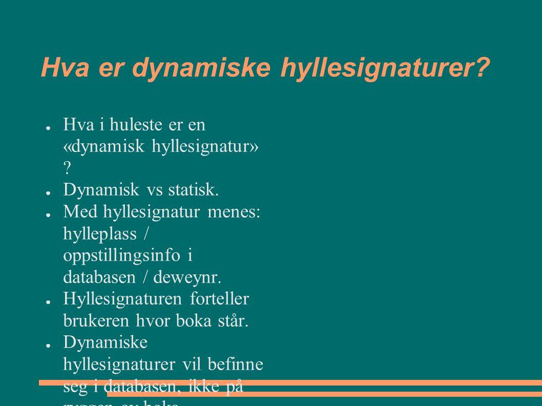 Hva er dynamiske hyllesignaturer