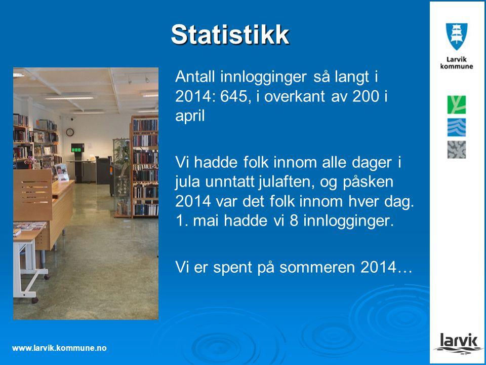 Statistikk Antall innlogginger så langt i 2014: 645, i overkant av 200 i april.