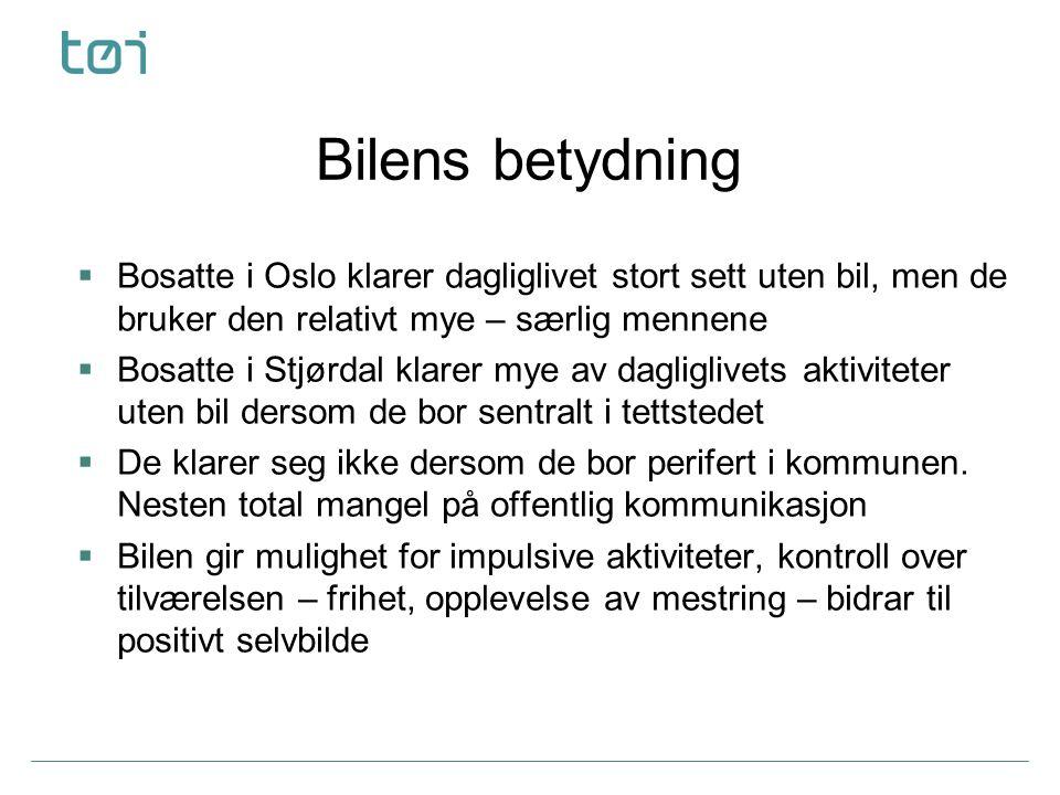 Bilens betydning Bosatte i Oslo klarer dagliglivet stort sett uten bil, men de bruker den relativt mye – særlig mennene.