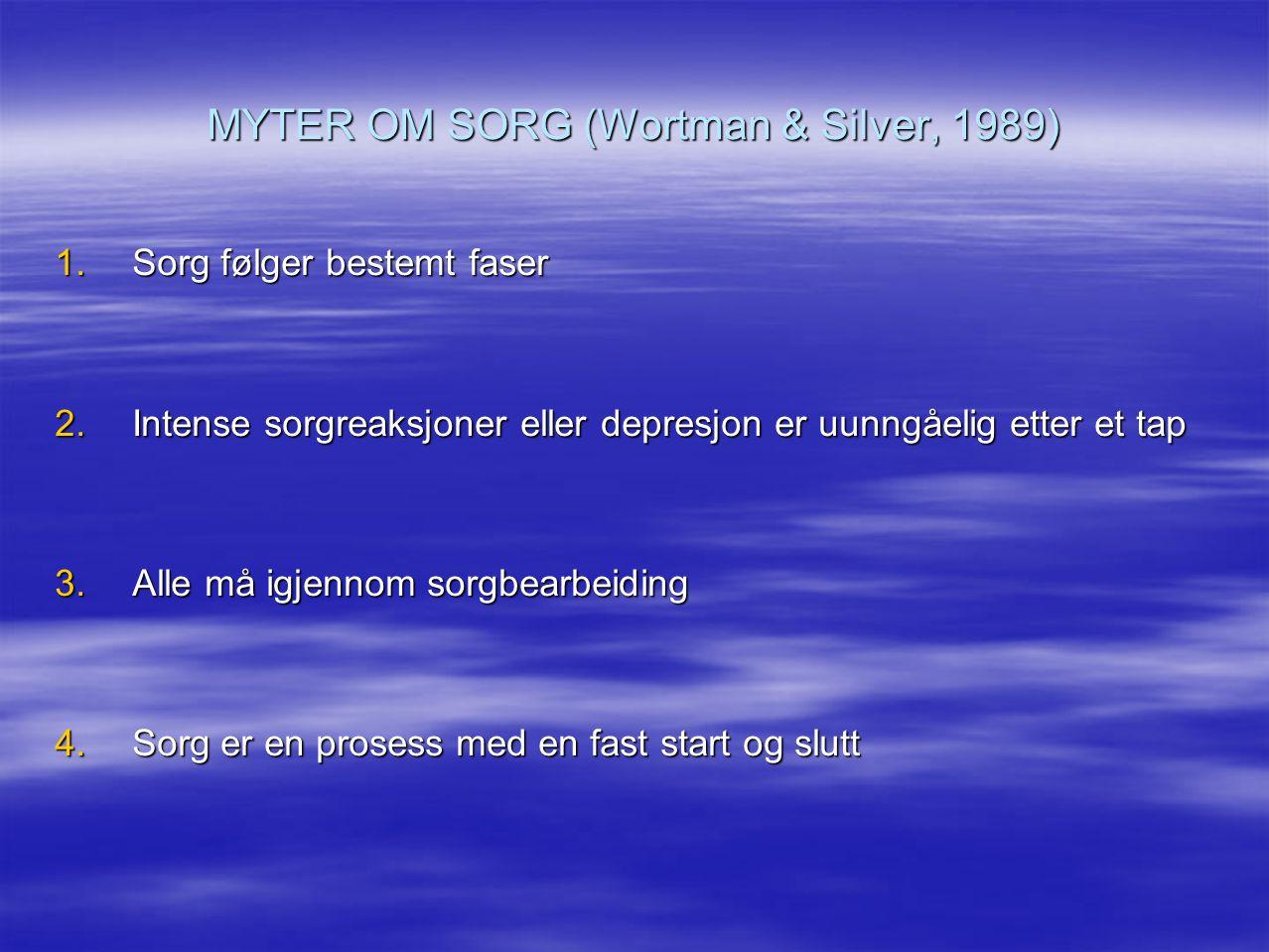 MYTER OM SORG (Wortman & Silver, 1989)