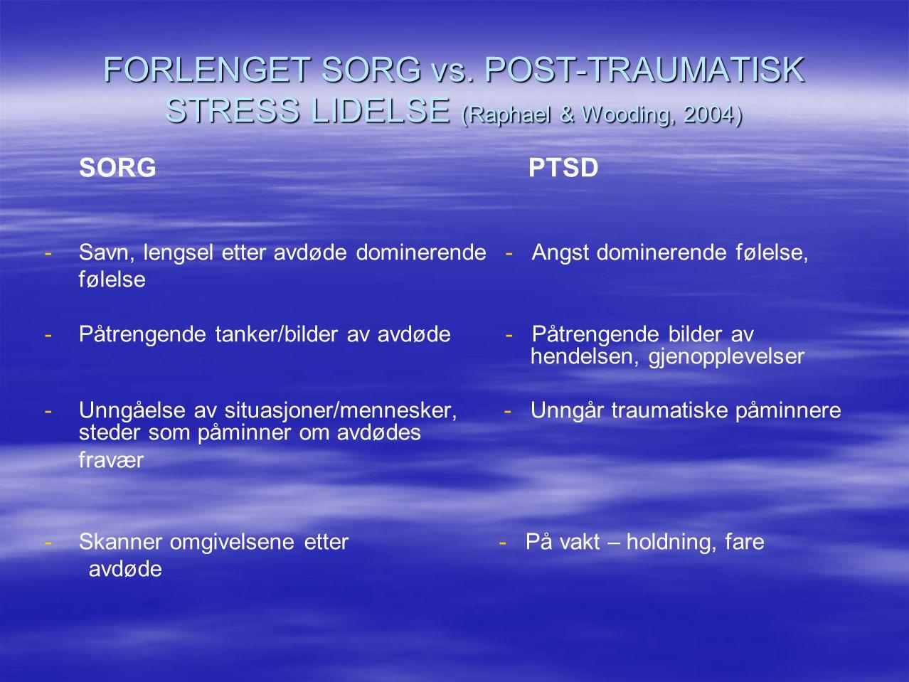 FORLENGET SORG vs. POST-TRAUMATISK STRESS LIDELSE (Raphael & Wooding, 2004)