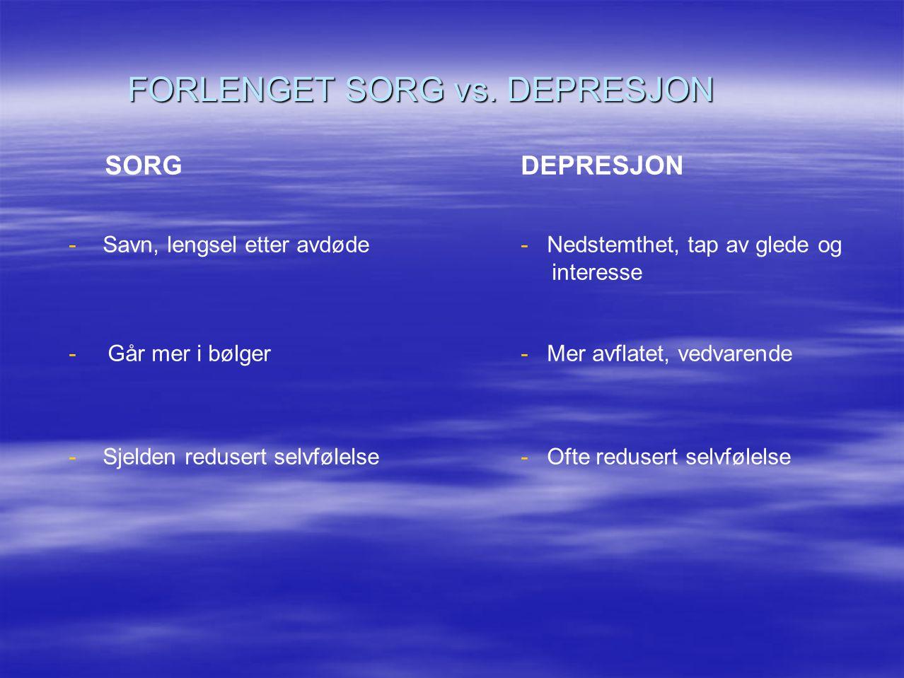 FORLENGET SORG vs. DEPRESJON