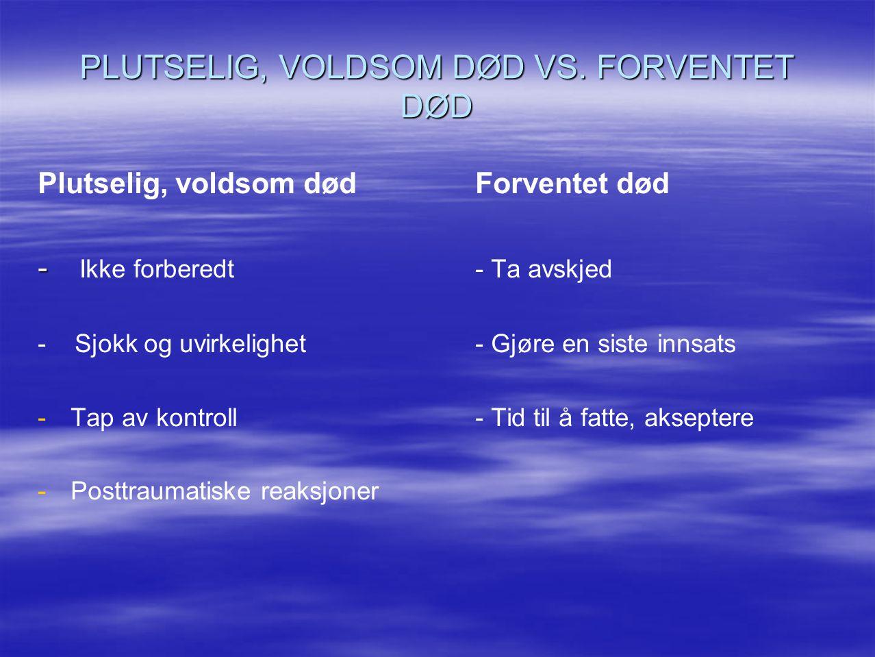 PLUTSELIG, VOLDSOM DØD VS. FORVENTET DØD