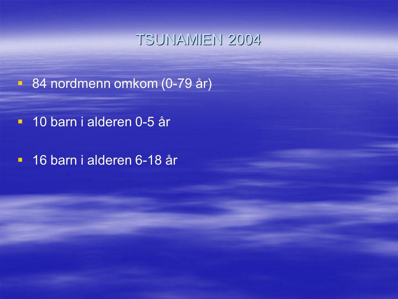 TSUNAMIEN 2004 84 nordmenn omkom (0-79 år) 10 barn i alderen 0-5 år