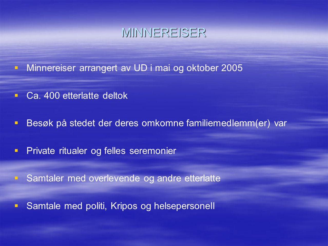 MINNEREISER Minnereiser arrangert av UD i mai og oktober 2005