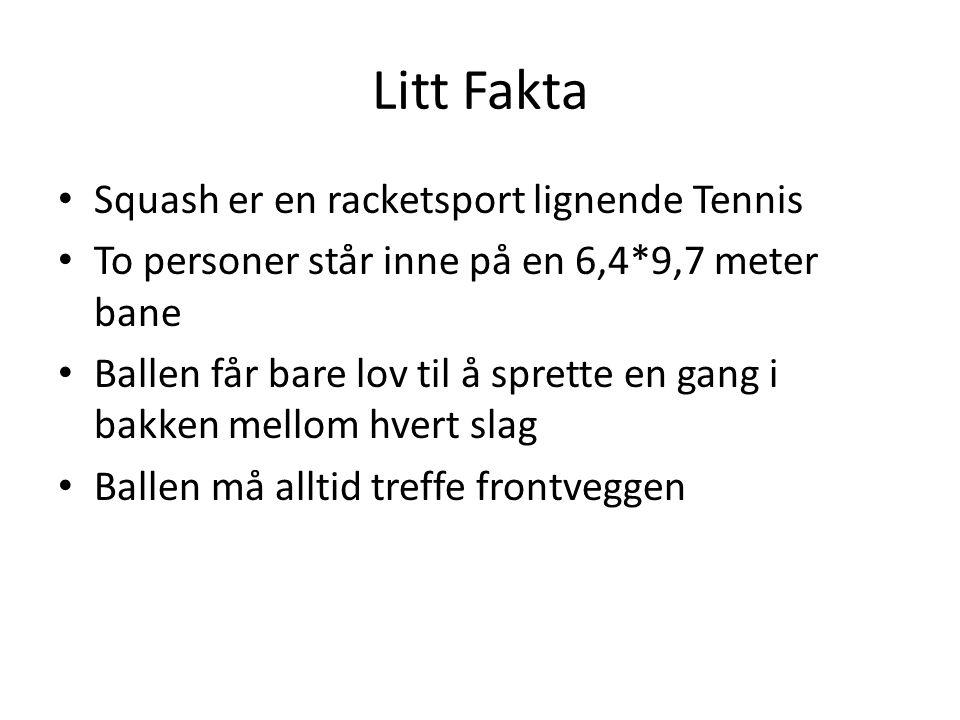 Litt Fakta Squash er en racketsport lignende Tennis