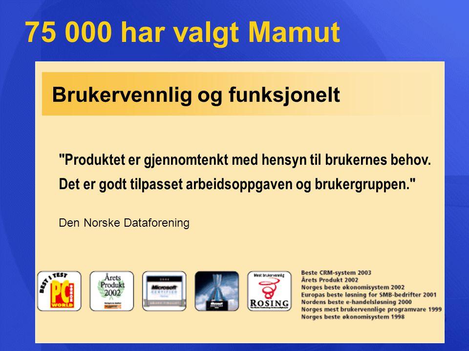 75 000 har valgt Mamut Brukervennlig og funksjonelt