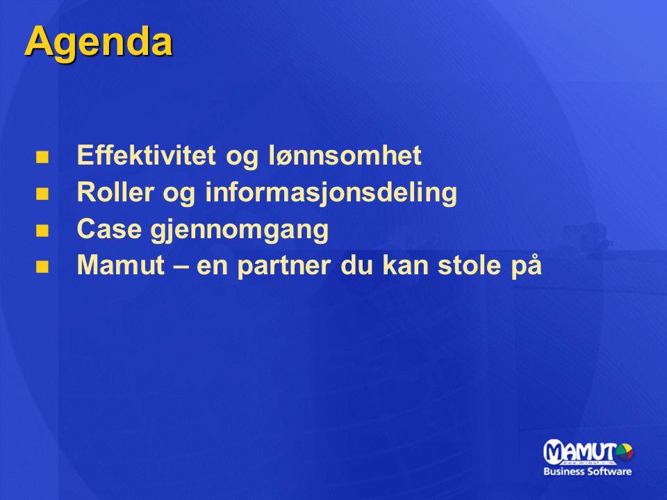 Agenda Effektivitet og lønnsomhet Roller og informasjonsdeling