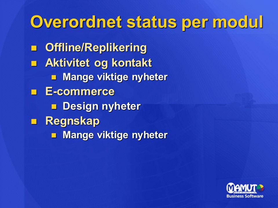 Overordnet status per modul