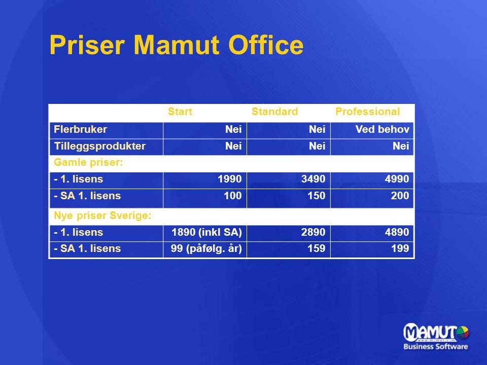 Priser Mamut Office Start Standard Professional Flerbruker Nei