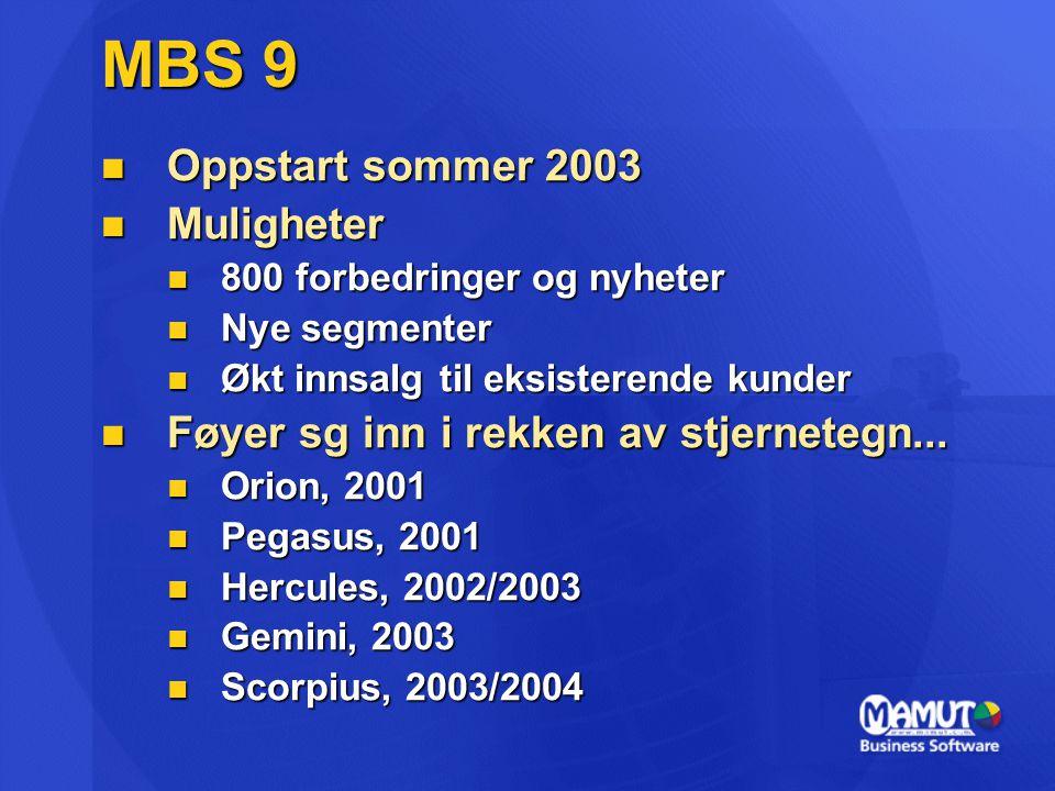 MBS 9 Oppstart sommer 2003 Muligheter