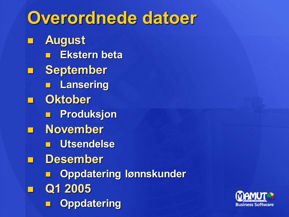 Overordnede datoer August September Oktober November Desember Q1 2005