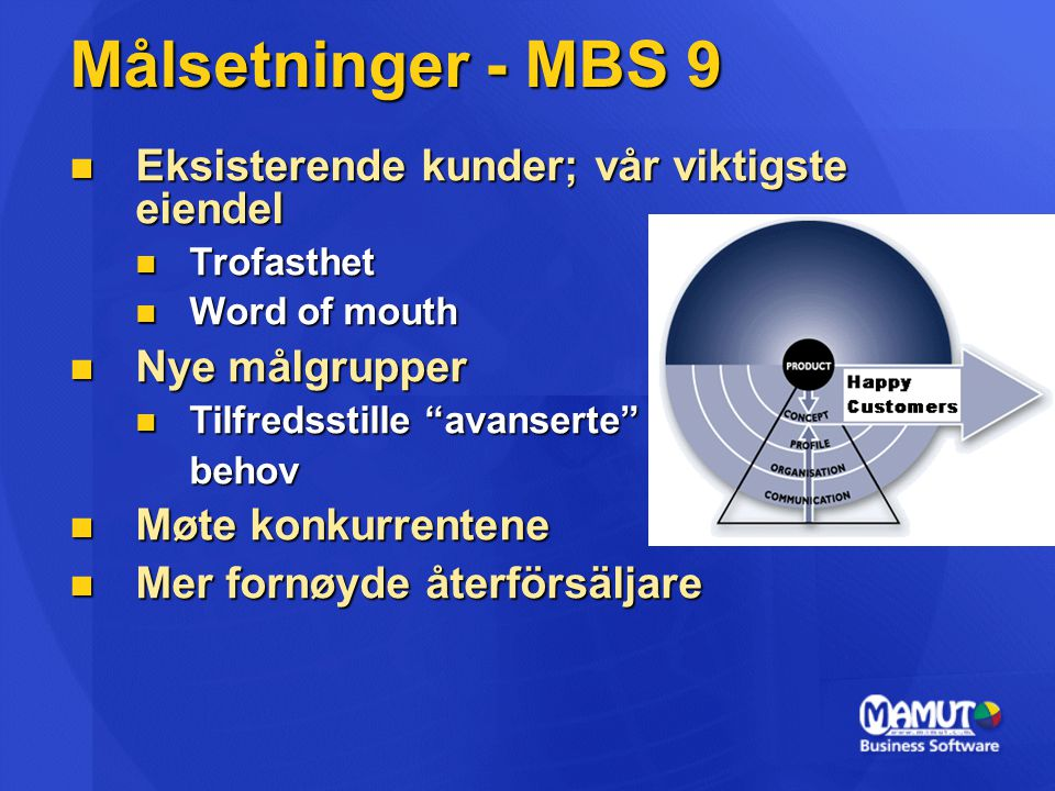 Målsetninger - MBS 9 Eksisterende kunder; vår viktigste eiendel