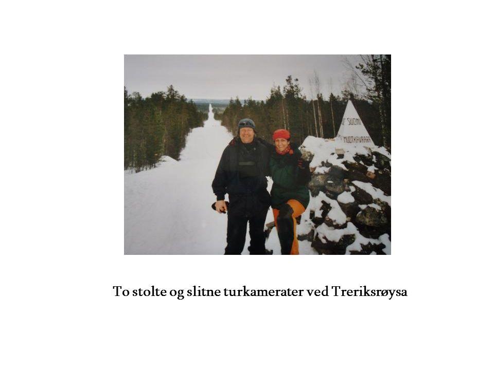 To stolte og slitne turkamerater ved Treriksrøysa