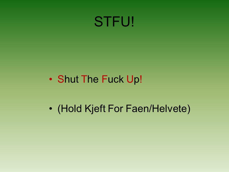 STFU! Shut The Fuck Up! (Hold Kjeft For Faen/Helvete)