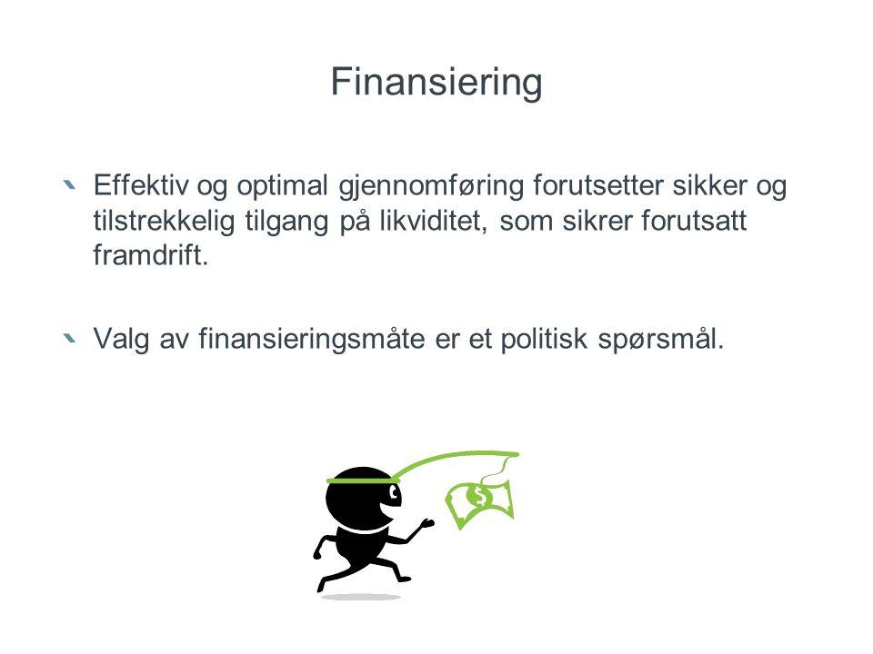Finansiering Effektiv og optimal gjennomføring forutsetter sikker og tilstrekkelig tilgang på likviditet, som sikrer forutsatt framdrift.