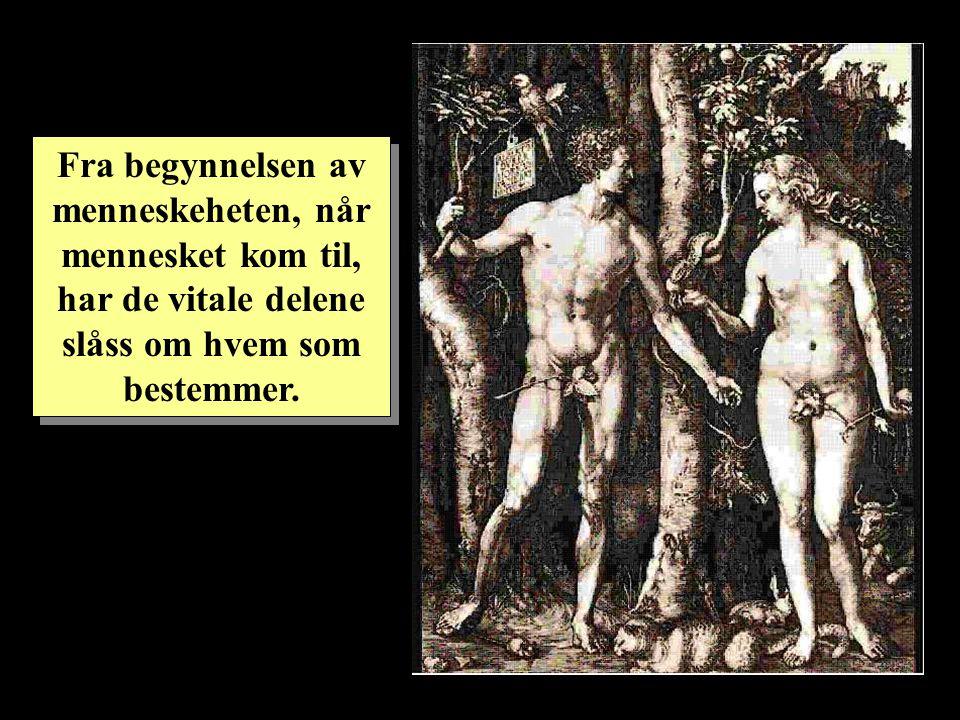 Fra begynnelsen av menneskeheten, når mennesket kom til, har de vitale delene slåss om hvem som bestemmer.