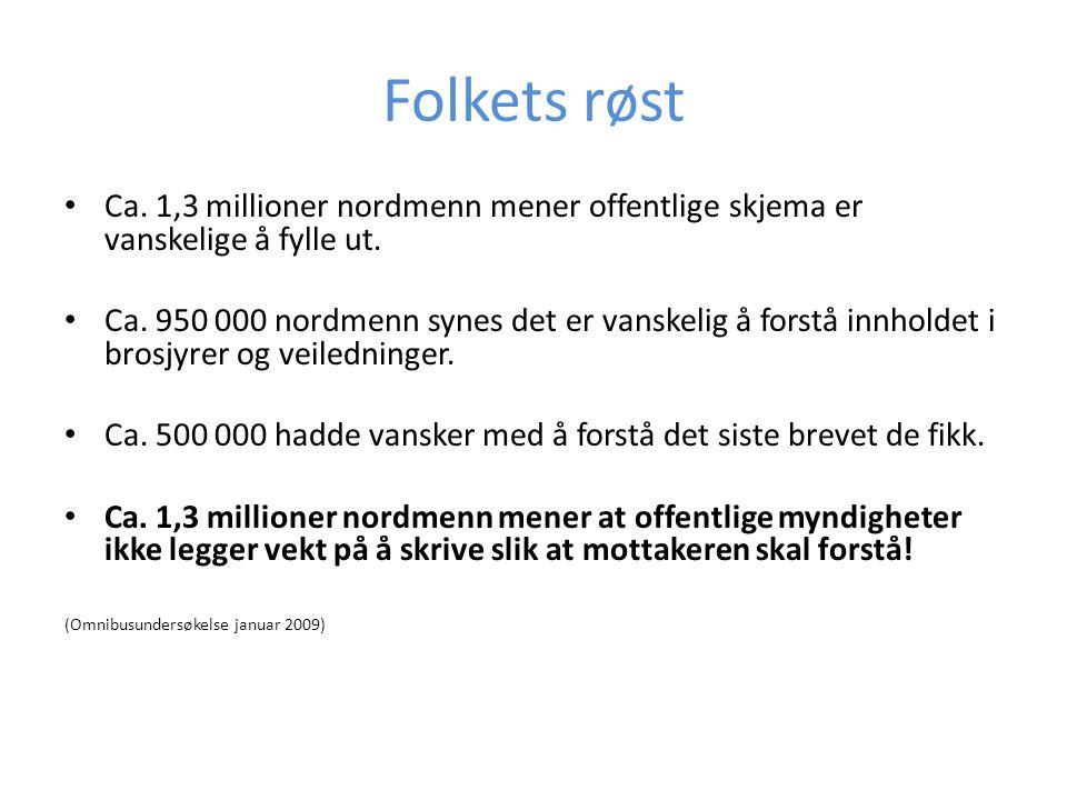Folkets røst Ca. 1,3 millioner nordmenn mener offentlige skjema er vanskelige å fylle ut.