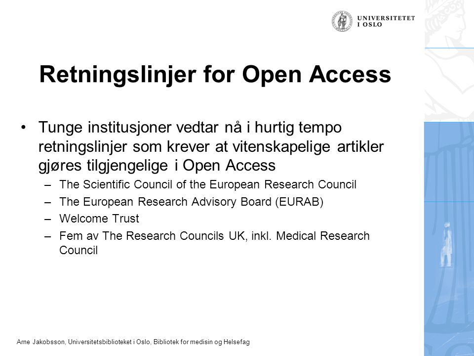 Retningslinjer for Open Access