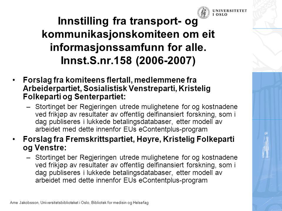 Innstilling fra transport- og kommunikasjonskomiteen om eit informasjonssamfunn for alle. Innst.S.nr.158 (2006-2007)