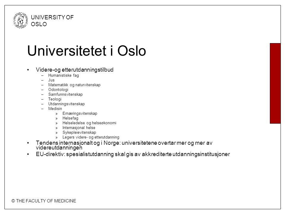 Universitetet i Oslo Videre-og etterutdanningstilbud