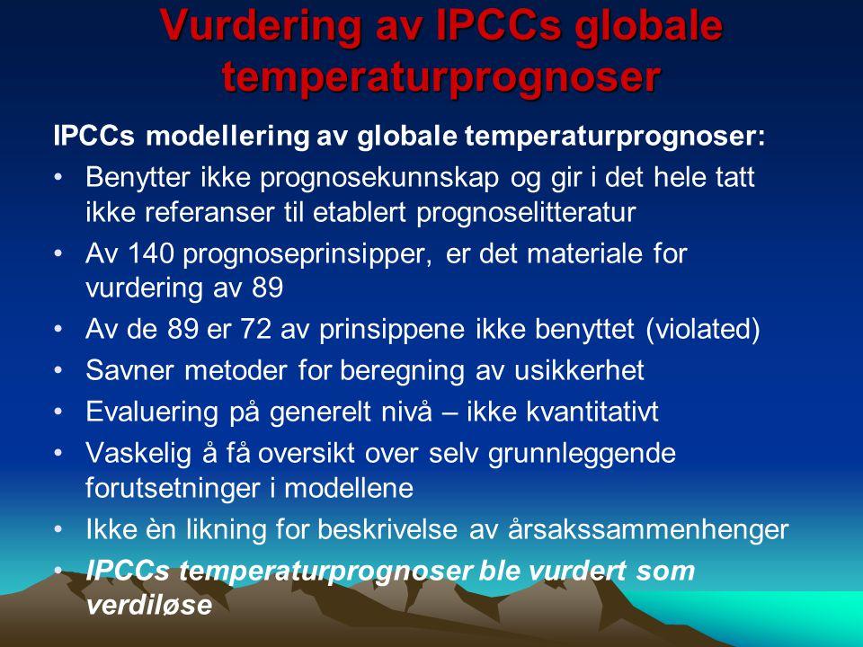 Vurdering av IPCCs globale temperaturprognoser